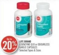 Life Brand Coenzyme Q10 or Odourless Garlic Capsules