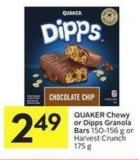 Quaker Chewy or Dipps Granola Bars 150-156 g or Harvest Crunch 175 g