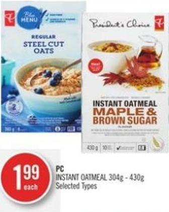 PC Instant Oatmeal 304g - 430g