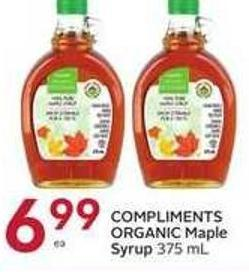 Compliments Organic Maple Syrup