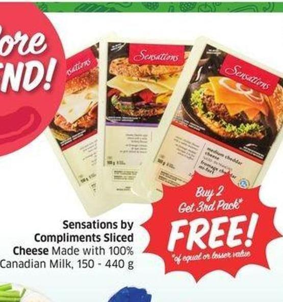 Sensations By Compliments Sliced Cheese Made With 100% Canadian Milk -