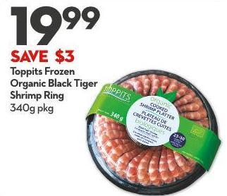 Toppits Frozen Organic Black Tiger Shrimp Ring 340g Pkg