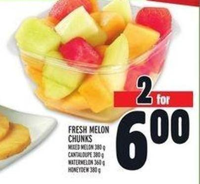 Fresh Melon Chunks Mixed Melon 380 g Cantaloupe 380 g Watermelon 360 g Honeydew 380 g