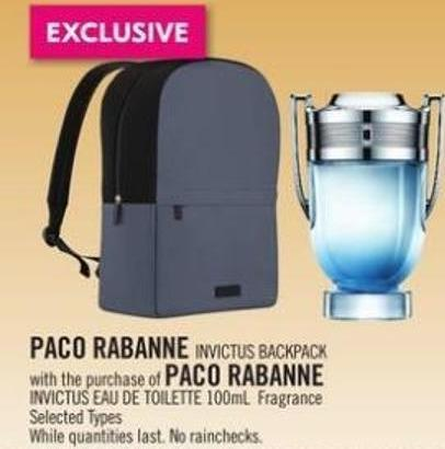 Paco Rabanne Invictus Backpack With The Purchase of Paco Rabanne Invictus Eau De Toilette 100ml Fragrance
