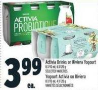 Activia Drinks Or Riviera Yogourt 8 X 93 ml - 4 X 120 G