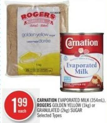 Carnation Evaporated Milk (354ml) - Rogers Golden Yellow (1kg) or Granulated (2kg) Sugar
