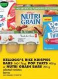Kellogg's Rice Krispies Bars - 160-176 g - Pop Tarts - 400 g or Nutri Grain Bars - 295 g
