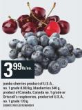 Jumbo Cherries - 8.80/kg - Blueberries 340 g Or Driscoll's Raspberries - 170 g