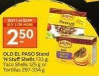 Old El Paso Stand 'N Stuffshells 133 Gtaco Shells 125 g or Tortillas 297-334 g