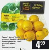Farmer's Market Lemons - Or No Name Naturally Imperfect Limes - 2 Lb