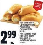 Front Street Bakery Ciabatta Burger Buns - Panini Rolls Or Portuguese Rolls 325 - 400 g