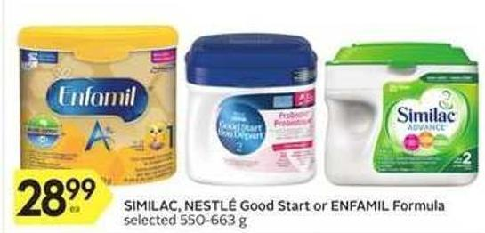 Similac - Nestlé Good Start or Enfamil Formula