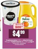Tropicana Juice - 2.63 L - Liberté Greek - 750 G Or Yoplait Source - 16 X 100 G - Yogurt