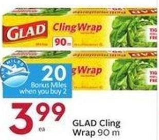 Glad Cling Wrap 90 M - 20 Air Miles Bonus Miles