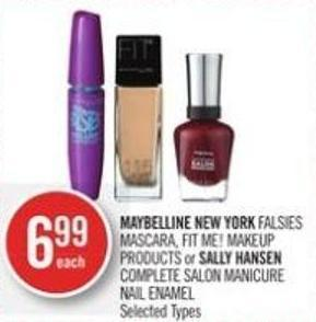 Maybelline New York Falsies Mascara - Fit Me! Makeup Products or Sally Hansen Complete Salon Manicure Nail Enamel