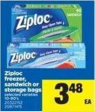 Ziploc Freezer - Sandwich Or Storage Bags - 10-90's