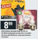 Glad Outdoor Garbage Bags 20-40's Or Air Wick Freshmatic Starter Kit Or Scented Oil Twin Refill 40/42 Ml