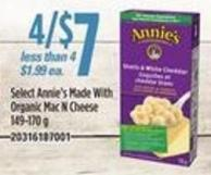 Select Annie's Made With Organic Mac N Cheese - 149-170 G