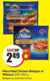 Mina Halal Chicken Bologna or Wieners 250-450 g
