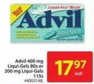 Advil 400 Mg Liqui-gels 80s or 200 Mg Liqui-gels 115s