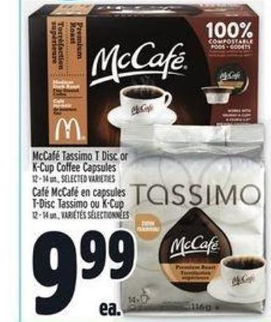 Mccafé Tassimo T Disc or K-cup Coffee Capsules