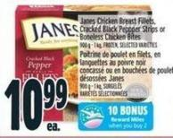 Janes Chicken Breast Fillets - Cracked Black Peppper Strips Or Boneless Chicken Bites 900 g - 1 Kg - Frozen -