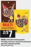 M&m's Chocolate Stand Up Pouch 167-230 G Or Excel Or Juicy Fruit Multi-pack GUM 3/4's