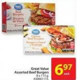 Great Value Assorted Beef Burgers