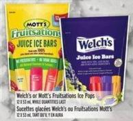 Welch's Or Mott's Fruitsations Ice Pops 12 X 53 ml