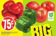 Green Bell Sweet Peppers Product of Ontario Plum or Field Tomatoes Product of Ontario Canada No. 1 - 1.65/kg