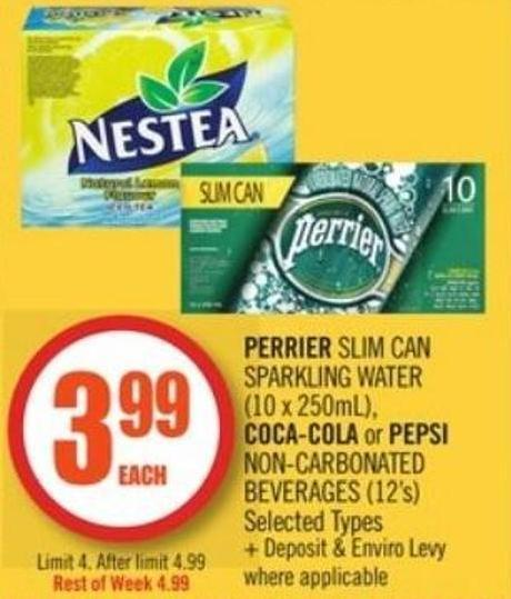 Perrier Slim Can Sparkling Water (10 X 250ml) - Coca-cola or Pepsi Non-carbonated Beverages (12's)