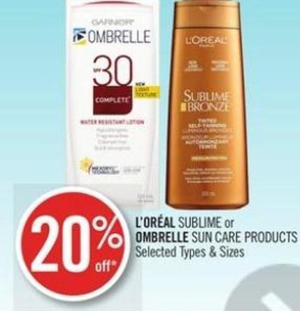 L'oréal Sublime or Ombrelle Sun Care Products