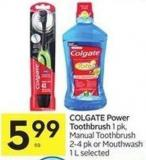 Colgate Power Toothbrush 1 Pk - Manual Toothbrush 2-4 Pk or Mouthwash 1 L Selected