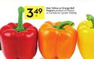 Red - Yellow or Orange Bell Peppers Product of Mexico or Canada No 1 Grade