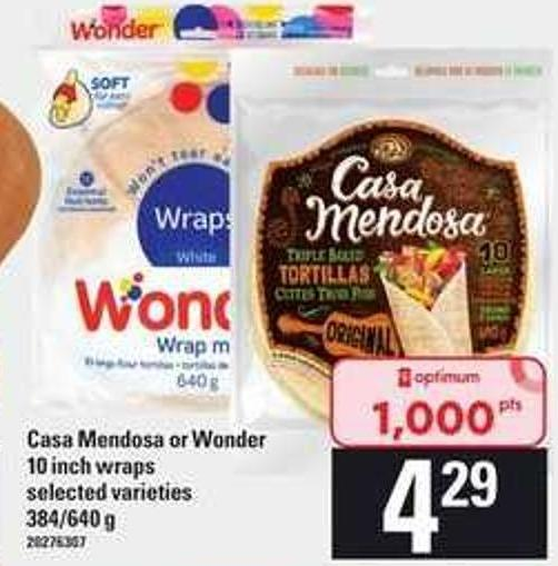 Casa Mendosa Or Wonder 10 Inch Wraps - 384/640 G