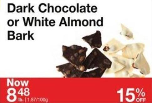 Dark Chocolate or White Almond Bark
