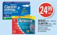 Aerius (30's - 40's) or Claritin (40's - 50's) Allergy Products