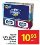 Royal 2-ply or 3-ply Facial Tissue 12-pack