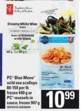 PC Blue Menu Wild Sea Scallops - 80-150 Per Lb - 400 g or PC Mussels In Sauce - 907 g