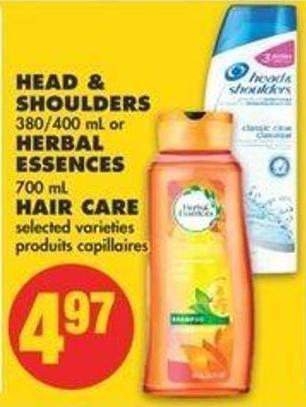 Head & Shoulders 380/400 Ml Or Herbal Essences 700 Ml Hair Care