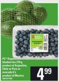 PC Organics Blueberries - 278 G Or Avocado - 6's