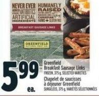 Greenfield Breakfast Sausage Links Frozen - 375 g