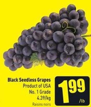 Black Seedless Grapes Product of USA No. 1 Grade 4.39/kg