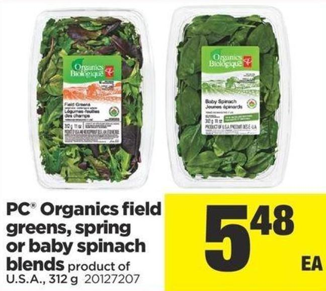 PC Organics Field Greens - Spring Or Baby Spinach Blends - 312 g