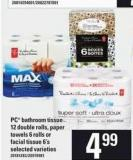 PC Bathroom Tissue 12 Double Rolls - Paper Towels 6 Rolls Or Facial Tissue 6's