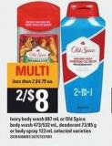 Ivory Body Wash 887 Ml Or Old Spice Body Wash 473/532 Ml - Deodorant 73/85 G Or Body Spray - 123 Ml