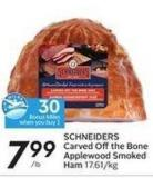 Schneiders Carved Offthe Bone Applewood Smoked Ham - 30 Air Miles Bonus Miles