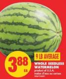 Whole Seedless Watermelon - 9 Lb Average