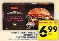 Irresistibles Brisket - Brunch Or Chicken Burgers 680 G - 1.12 Kg Frozen