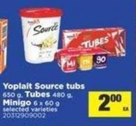 Yoplait Source Tubs - 650 G - Tubes - 480 G - Minigo - 6 X 60 G